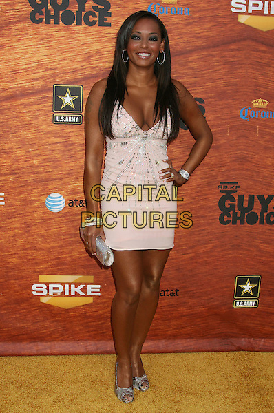 "MELANIE BROWN - MEL B.2008 Spike TV's ""Guys Choice"" Awards held at Sony Studios, Los Angeles, California, USA..May 30th, 2008.full length hand on hip pale pink dress silver clutch bag sparkly bangles bracelets shoes scary spice .CAP/ADM/MJ.©Michael Jade/AdMedia/Capital Pictures."