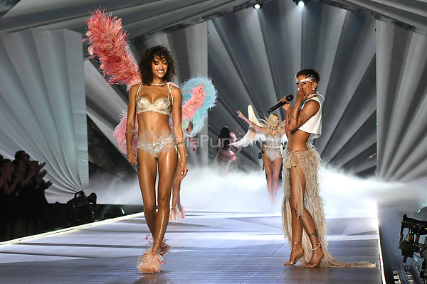 NEW YORK, NY - NOVEMBER 08: Alanna Arrington and Halsey at the 2018 Victoria's Secret Fashion Show at Pier 94 on November 8, 2018 in New York City. Credit: John Palmer/MediaPunch