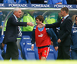 Walter Smith commiserates with Falkirk manager Eddie May at the end of the match