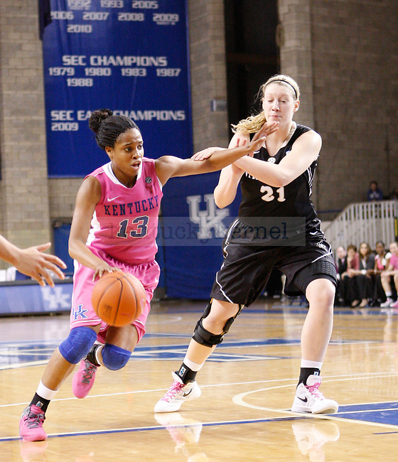UK guard Bria Goss drives towards the basket during the second half of the UK Women's basketball game against Vanderbilt on 2/20/12 at Memorial Coliseum in Lexington, Ky. Photo by Quianna Lige | Staff