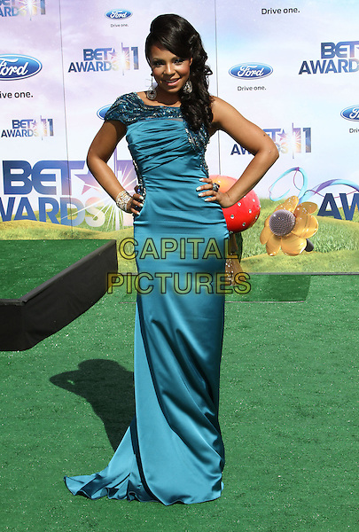 Ashanti (Ashanti Shequoiya Douglas).BET Awards 2011 Held At The Shrine Auditorium, Los Angeles, California, USA..June 26th, 2011.full length dress hands on hips dress green blue silk satin.CAP/ADM/KB.©Kevan Brooks/AdMedia/Capital Pictures.