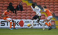 Burton Albion's Devante Cole shields the ball from Blackpool's Ben Heneghan<br /> <br /> Photographer Stephen White/CameraSport<br /> <br /> The EFL Sky Bet League One - Blackpool v Burton Albion - Saturday 24th November 2018 - Bloomfield Road - Blackpool<br /> <br /> World Copyright © 2018 CameraSport. All rights reserved. 43 Linden Ave. Countesthorpe. Leicester. England. LE8 5PG - Tel: +44 (0) 116 277 4147 - admin@camerasport.com - www.camerasport.com