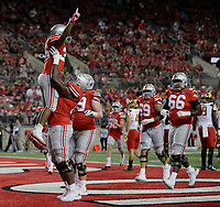 Ohio State Buckeyes running back Antonio Williams (26) celebrates his touchdown during the second half of the NCAA football game between the Ohio State Buckeyes and the Maryland Terrapins at Ohio Stadium on Saturday, October 7, 2017. [Jonathan Quilter/Dispatch]