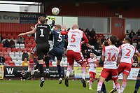 Paul Farman of Stevenage punches clear a corner during Stevenage vs Bury, Sky Bet EFL League 2 Football at the Lamex Stadium on 9th March 2019