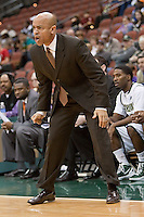 January 14, 2012:    Jacksonville Dolphins head coach Cliff Warren during Atlantic Sun conference action between the Jacksonville University Dolphins and East Tennessee State University Buccaneers at Veterans Memorial Arena in Jacksonville, Florida.   East Tennessee State defeated Jacksonville 72-58.