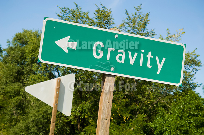 Road-side sign for the town of Gravity