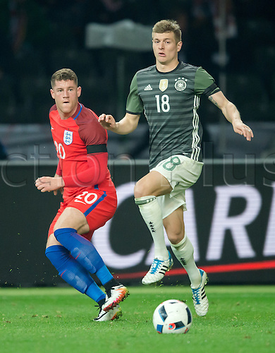 26.03.2016. Olympiastadion Berlin, Berlin, Germany.  Germany's Toni Kroos (R) in action against England's Ross Barkley during the international friendly soccer match between Germany and England at the Olympiastadion