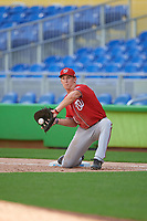 Washington Nationals first baseman Blake Chisolm (14) receives a throw during a Florida Instructional League game against the Miami Marlins on September 26, 2018 at the Marlins Park in Miami, Florida.  (Mike Janes/Four Seam Images)