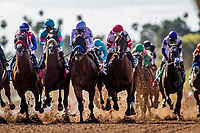 ARCADIA, CA -APRIL 08: The field for the Santa Anita Derby battle for position at Santa Anita Park on April 08, 2017 in Arcadia, California. (Photo by Alex Evers/Eclipse Sportswire/Getty Images)