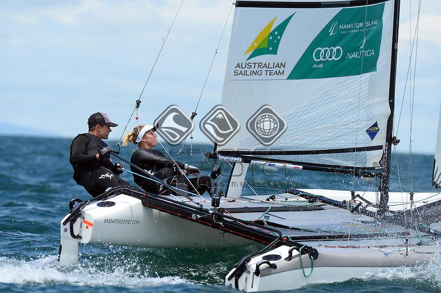 Darren Bundock & Nina Curtis (AUS)<br /> Racing -Day 1 / Nacra 17<br /> ISAF Sailing World Cup - Melbourne<br /> Sandringham Yacht Club<br /> Monday 8 December 2014<br /> © Sport the library / Jeff Crow