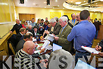 Tallymen  at the North Kerry, West Limerick Election 2011 count at the Brandon Hotel Tralee on Saturday.