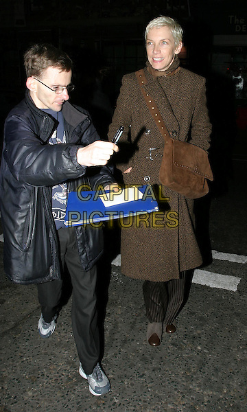 ANNIE LENNOX.The Singing Detective UK Gala Screening, Everyman Cinema.full length, full-length, brown wool tweed coat, suede bag, satchel, autograph hunter.www.capitalpictures.com.sales@capitalpictures.com.© Capital Pictures.