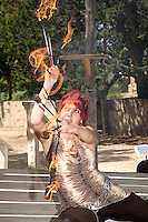 The Renaissance Fair is held each September at the historic museum of El Rancho de Las Golondrinas near Santa Fe and features dancers, knights, acrobats and many other performers celebrating the culture and lifestyle of the Medieval Middle Ages. Angela Keen performs as Snake the Fire Dancer.