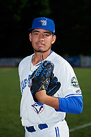 Bluefield Blue Jays pitcher Felipe Castaneda (20) poses for a photo before a game against the Bristol Pirates on July 26, 2018 at Bowen Field in Bluefield, Virginia.  Bristol defeated Bluefield 7-6.  (Mike Janes/Four Seam Images)