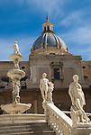 Marble Sculptures in The Piazza Pretoria, Palermo, Sicily, Italy