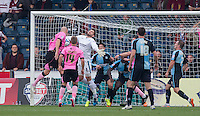 Wycombe somehow manage to keep out a Ryan Cresswell of Northampton Town effort during the Sky Bet League 2 match between Wycombe Wanderers and Northampton Town at Adams Park, High Wycombe, England on 3 October 2015. Photo by Andy Rowland.