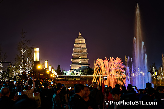 Musical Fountain near The Giant Goose Pagoda in Xi'an, China