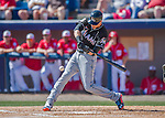 7 March 2016: Miami Marlins infielder Christian Yelich connects for a 2-RBI single opening the scoring in the 3rd inning during a Spring Training pre-season game against the Washington Nationals at Space Coast Stadium in Viera, Florida. The Nationals defeated the Marlins 7-4 in Grapefruit League play. Mandatory Credit: Ed Wolfstein Photo *** RAW (NEF) Image File Available ***