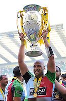 Aviva Premiership Final .Twickenham, England. George Robson of Harlequins celebrates with the trophy following his team's victory during the Aviva Premiership final between Harlequins and Leicester Tigers at Twickenham Stadium on May 26, 2012 in London, England.