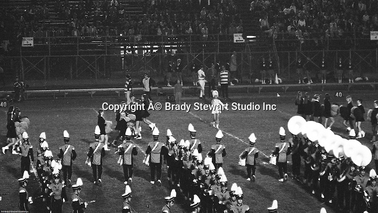 Bethel Park PA:  Bethel Park Band, Majorettes and Bethettes performing during Senior Night at Bethel Park High School Football field - 1969