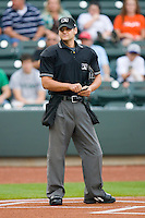 Home plate umpire Joey Amaral during the Carolina League game between the Lynchburg Hillcats and the Winston-Salem Dash at  BB&T Ballpark May 22, 2010, in Winston-Salem, North Carolina.  Photo by Brian Westerholt / Four Seam Images