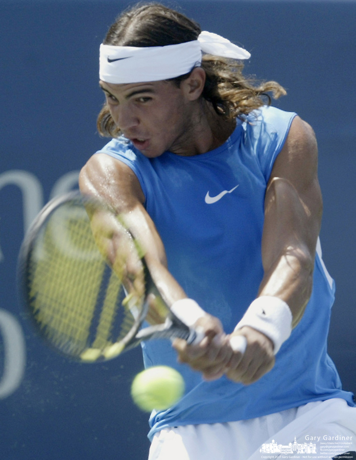 17 August 2006: Rafael Nadal, of Spain, plays during the during the ATP Cincinnati Masters tennis tournament in Mason, Ohio.<br />