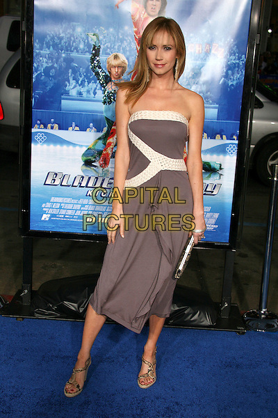 "ASHLEY JONES.Attending ""Blades of Glory"" Los Angeles Premiere at Grauman's Chinese Theatre, Hollywood, California.28 March 2007..full length grey white dress strapless.CAP/ADM/BP.©Byron Purvis/AdMedia/Capital Pictures."