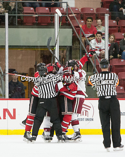 - The Harvard University Crimson defeated the visiting Rensselaer Polytechnic Institute Engineers 5-2 in game 1 of their ECAC quarterfinal series on Friday, March 11, 2016, at Bright-Landry Hockey Center in Boston, Massachusetts.