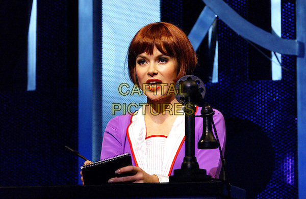 "AMANDA HOLDEN .Performing In Theatre Play ""Millie"" At The Shaftesbury Theatre in London.costume, stage, play, headshot, portrait, wig, fringe.www.capitalpictures.com.sales@capitalpictures.com.©Capital Pictures"