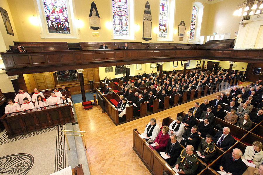 9/3/2011. An Taoiseach and Fine Gael leader Enda Kenny and Labour leader Eamon Gilmore are pictured at St Annes Church, Dawson St Dublin at mass with the president before attending the first day at the Dail. Picture James Horan/Collins