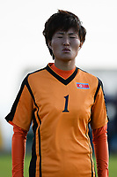 20190227 - LARNACA , CYPRUS : North Korean goalkeeper Kim Myong-sun pictured during a women's soccer game between Korea DPR and Czech Republic , on Wednesday 27 February 2019 at the GSZ Stadium in Larnaca , Cyprus . This is the first game in group A for both teams during the Cyprus Womens Cup 2019 , a prestigious women soccer tournament as a preparation on the Uefa Women's Euro 2021 qualification duels and the Fifa World Cup France 2019. PHOTO SPORTPIX.BE | STIJN AUDOOREN