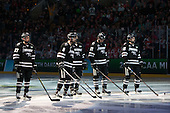 Josh Monk (PC - 27), Kyle McKenzie (PC - 5), Kevin Rooney (PC - 21), Steven McParland (PC - 15) - The Providence College Friars defeated the Boston University Terriers 4-3 to win the national championship in the Frozen Four final at TD Garden on Saturday, April 11, 2015, in Boston, Massachusetts.