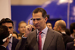 Prince Felipe of Spain (C) wears the new google glass during the 'Fitur' International Tourism Fair opening at Ifema in Madrid, Spain. January 22, 2014. (ALTERPHOTOS/Victor Blanco)