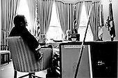 United States President Gerald R. Ford, center, discusses the situation in Cyprus with United States Secretary of State Henry Kissinger, left, in the Oval Office of the White House on August 14, 1974. <br /> Mandatory Credit: David Hume Kennerly / White House via CNP