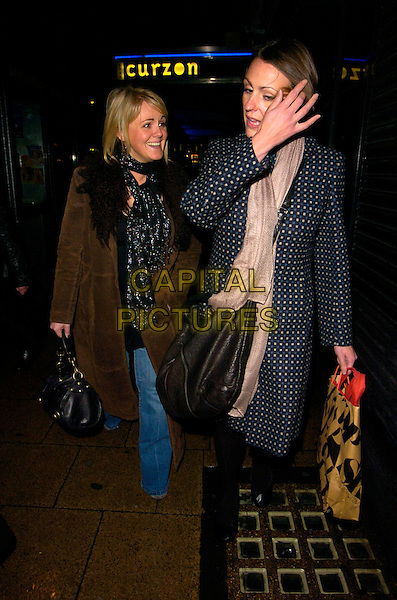 SALLY LINDSAY & SURANNE JONES.Spotted walking along Shaftesbury Avenue,  London, England..January 15th, 2008.full length brown coat scarf black bag purse blue beige polka dot hand topshop bag  .CAP/CAN.©Can Nguyen/Capital Pictures