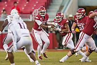 NWA Democrat-Gazette/BEN GOFF @NWABENGOFF<br /> K.J. Jefferson, Arkansas quarterback, fakes a hand off to running back Rakeem Boyd in the fourth quarter vs Mississippi State Saturday, Nov. 2, 2019, at Reynolds Razorback Stadium in Fayetteville.