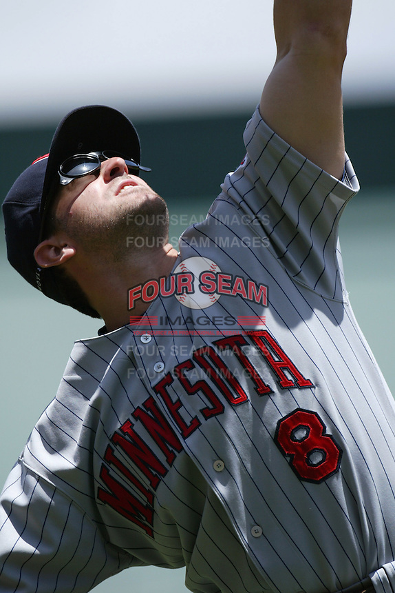 Nick Punto of the Minnesota Twins during a 2007 MLB season game against the Los Angeles Angels at Angel Stadium in Anaheim, California. (Larry Goren/Four Seam Images)