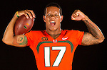 University of Miami Football Portrait Session 2013<br /> with quarterback Stephen Morris for the Miami Herald on Saturday, August 17, 2013.