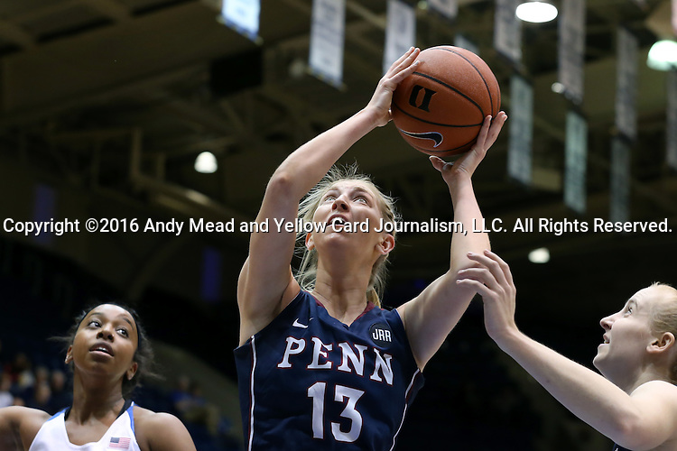 13 November 2016: Penn's Sydney Stipanovich. The Duke University Blue Devils hosted the University of Pennsylvania Quakers at Cameron Indoor Stadium in Durham, North Carolina in a 2016-17 NCAA Division I Women's Basketball game. Duke defeated Penn 68-55.