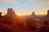 Sunrise over West and East Mitten Buttes<br />