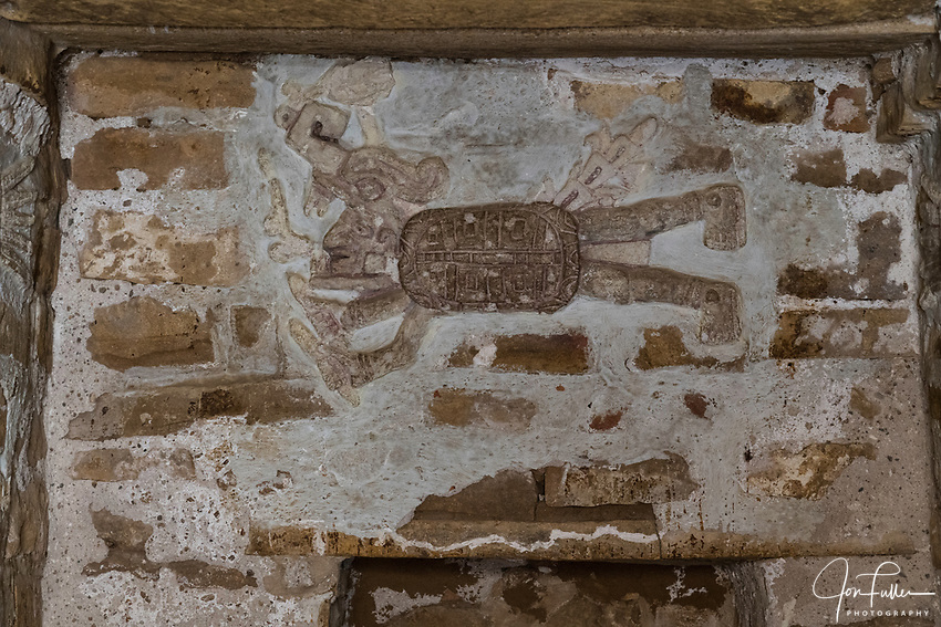 Stucco frieze depicting Lord Nine Flower inside Tomb 1, his crypt, at the ruins of the Zapotec city of Zaachila in the Central Valley of Oaxaca, Mexico.