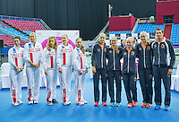 Moskou, Russia, Februari 4, 2016,  Fed Cup Russia-Netherlands,  Draw Ceremony ,The Russian (L) and Dutch team<br /> Photo: Tennisimages/Henk Koster