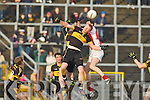 SNAP: Johnny Buckley Crokes and Johnny Buckley Rathmore contest this kick out  during the O'Donoghue Cup final in Fitzgerald Stadium on Sunday