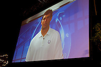 Andrew Luck recorded a thank you message after receiving the amateur athlete of the year award at the San Jose Sports Hall of Fame induction ceremony at the HP Pavilion on Nov. 14, 2012.