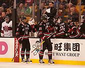 Zach Aston-Reese (NU - 12), Nolan Stevens (NU - 21) - The Harvard University Crimson defeated the Northeastern University Huskies 4-3 in the opening game of the 2017 Beanpot on Monday, February 6, 2017, at TD Garden in Boston, Massachusetts.