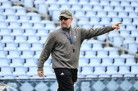 CHAPEL HILL, NC - MARCH 10: Head coach Mike Pressler of Bryant University during a game between Bryant and North Carolina at Dorrance Field on March 10, 2020 in Chapel Hill, North Carolina.