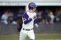 Ryan Russell (9) of the High Point Panthers hustles down the first base line against the Campbell Camels at Williard Stadium on March 16, 2019 in  Winston-Salem, North Carolina. The Camels defeated the Panthers 13-8. (Brian Westerholt/Four Seam Images)