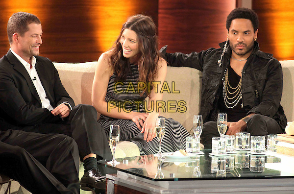 Til Schweiger, Jessica Biel, Lenny Kravitz.On Wetten, dass..?, Friedrichshafen, Germany..December 3rd, 2011.half length stubble facial hair beard black jacket sitting sleeveless dress profile striped stripes white .CAP/PPG/WS.©Willi Schneider/People Picture/Capital Pictures