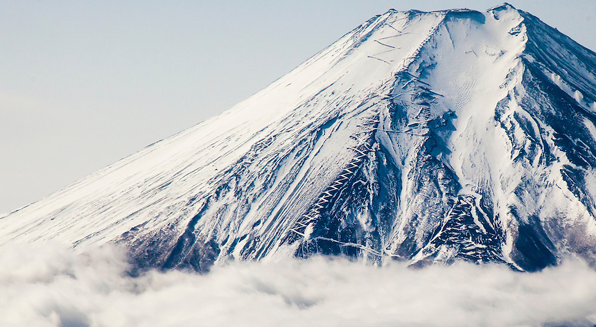 Fuji san climbing paths in snow.