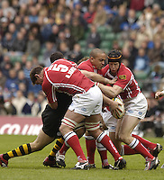 2006, Powergen Cup, Twickenham, Llanelli forwards left Adam Jones, Gavin Thomas and Simon Easterby, London Wasps vs Llanelli Scarlets, ENGLAND, 09.04.2006, 2006, , © Peter Spurrier/Intersport-images.com.   [Mandatory Credit, Peter Spurier/ Intersport Images].